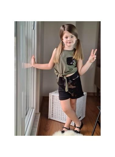 Quzucuk Kids Kız Çocuk Pul Payetli Şort Yeşil Takım Yeşil